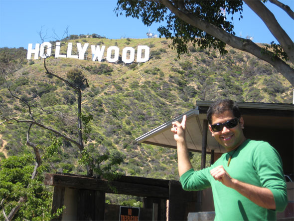 Tourist at the Hollywood Sign