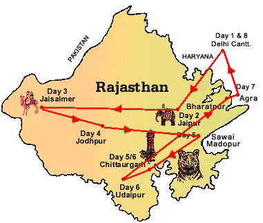 Map of Palace on Wheels tour