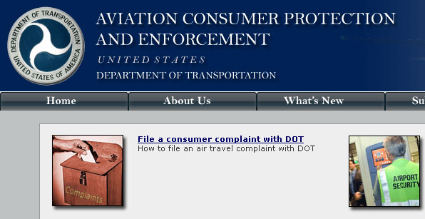 DOT's airline consumer protection site