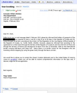 Email from Croatian Embassy