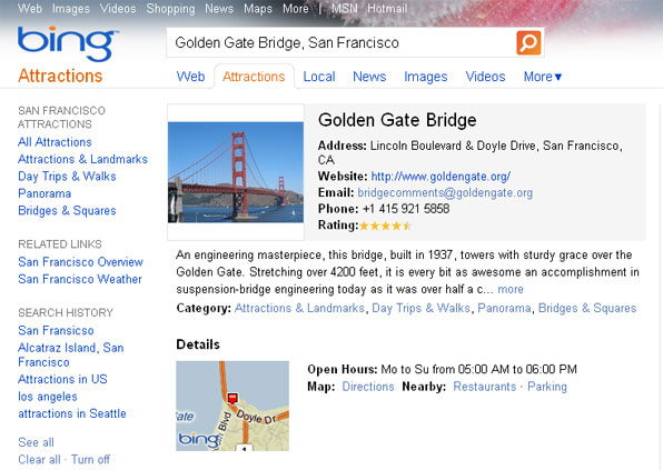 Bing Attractions Details