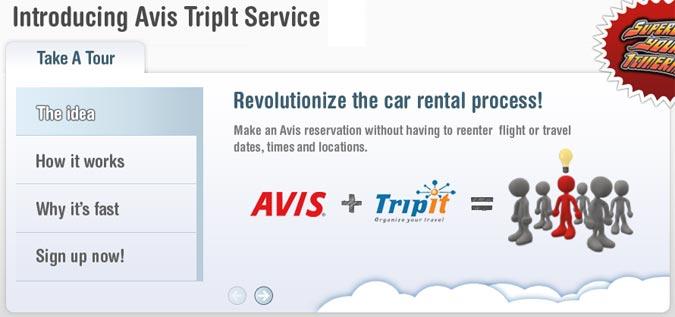 Avis.com's TripIt page