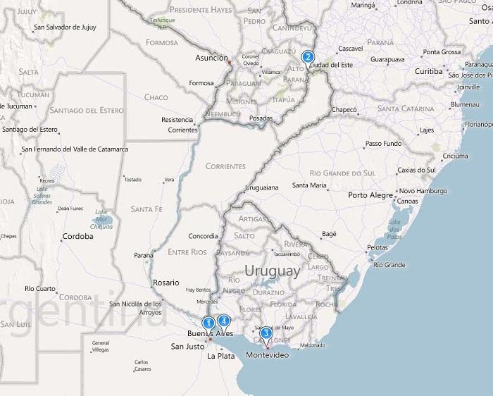 Argentina / Uruguay Trip Map