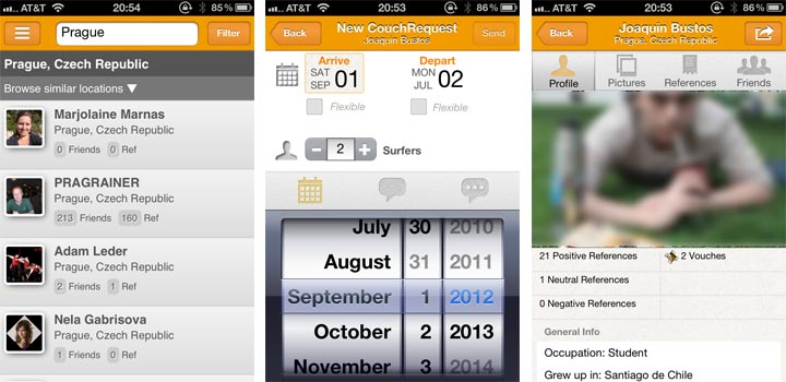 Couchsurfing iPhone app