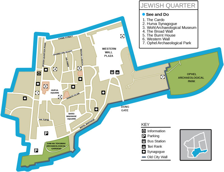 Jewish Quarter map, Jerusalem