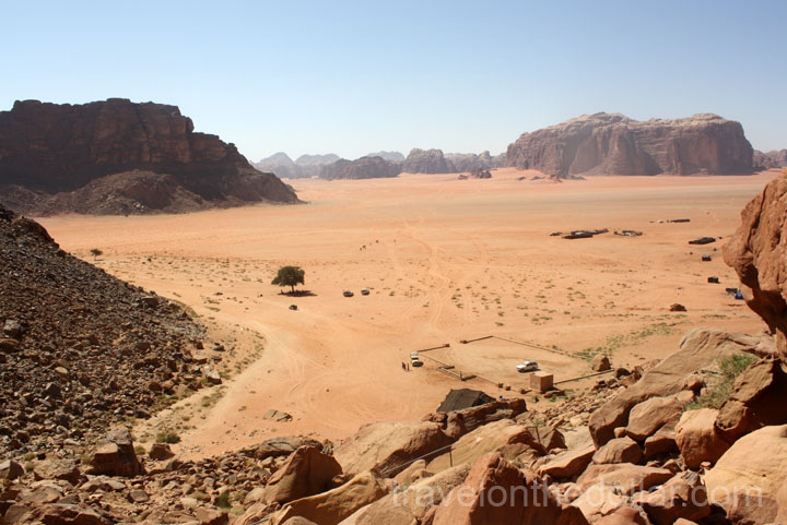 View of Wadi Rum desert from Lawrence Spring