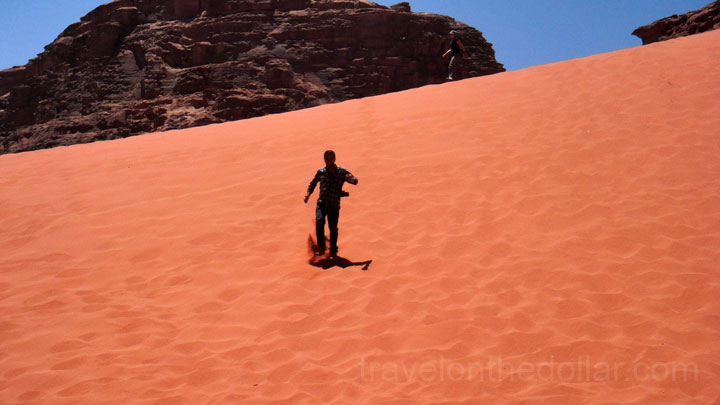Running down on Red Dunes at Wadi Rum
