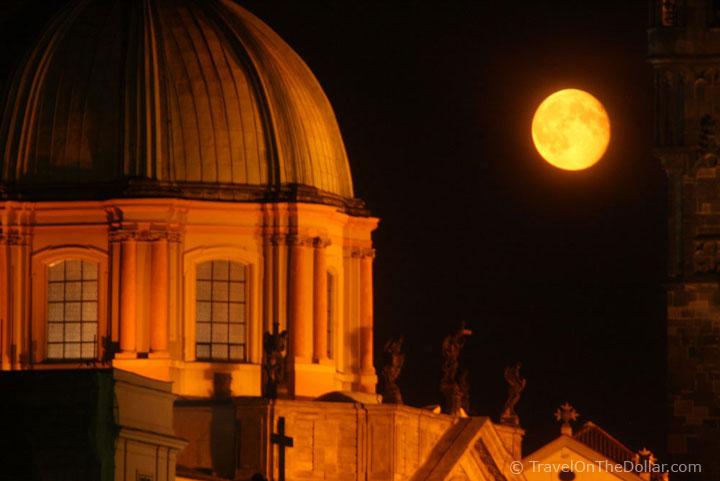 Moon at Church of St. Francis of Assisi, Prague