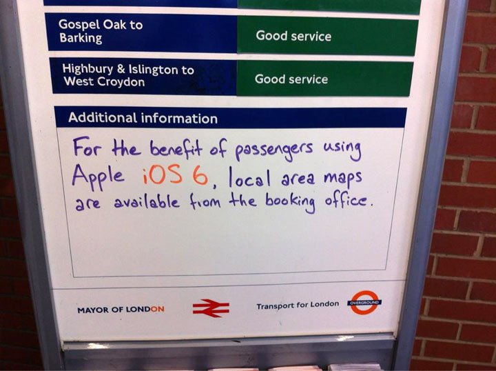 London Tube reacts to iOS 6