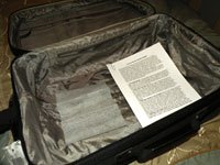 dryer sheet in suitcase