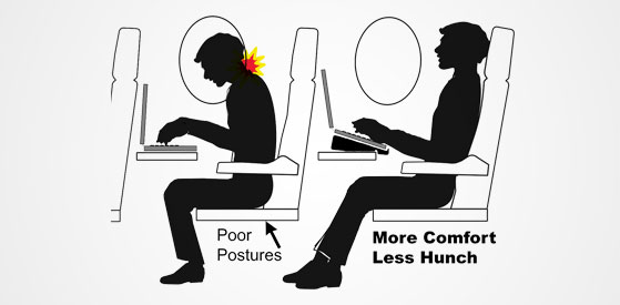 Travel tip: Angle laptop to avoid neck hunch on a flight