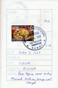 Postal Stamp at Uyuni