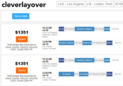 Cleverlayover will help you save money by searching non-partner airline routes