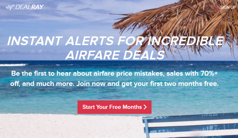 "DealRay will send super cheap, ""mistakes"" fares to your phone"