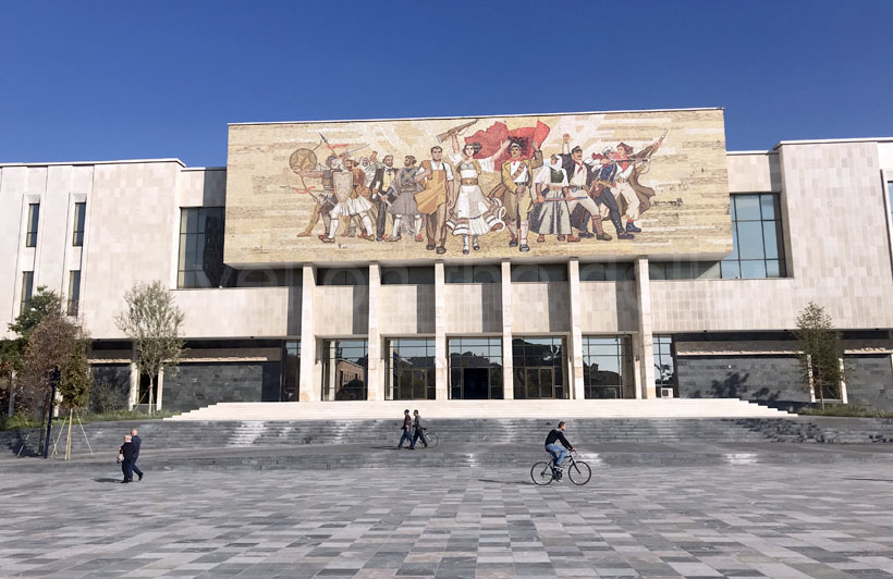 Albania mural outside the National History Museum entrance