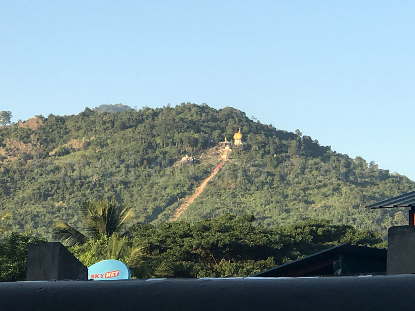 First view of Golden Pagoda from Kinpun town