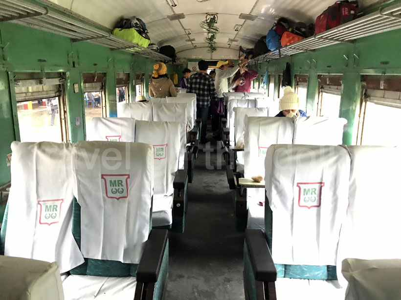 Upper class compartment in the Mandalay to Lashio train