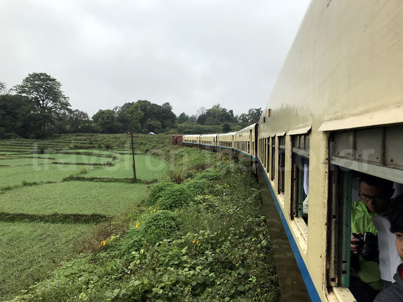 Train chugging through the countryside between Pyin Oo Lwin & Hsipaw
