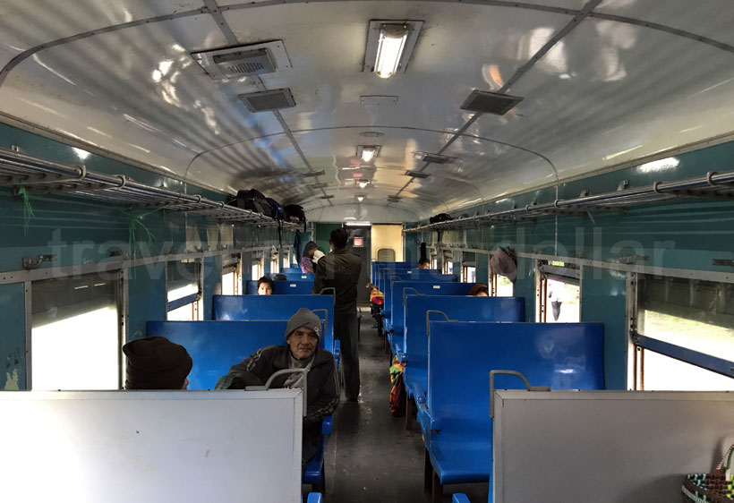 Ordinary class compartment in the Mandalay to Lashio train