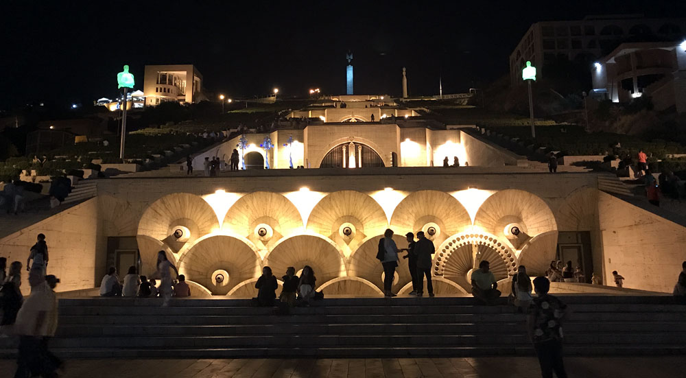 Cascade in Yerevan at night