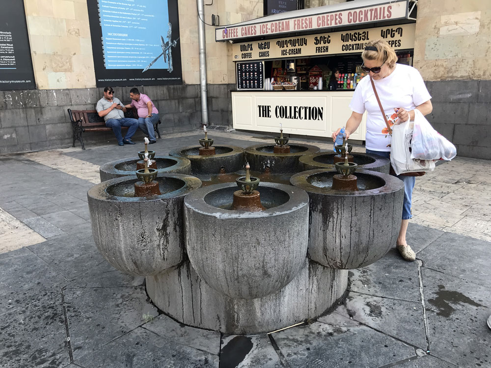 Drinking fountains everywhere in Armenia providing safe, clean drinking water