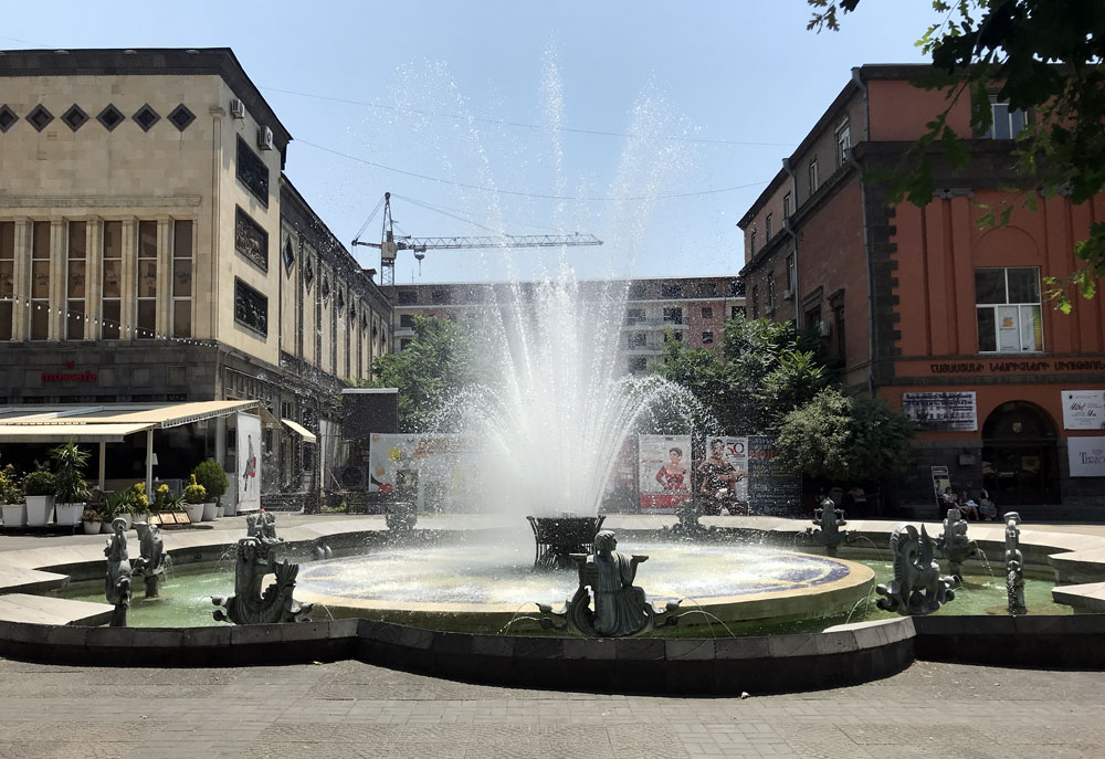 Fountain at Charles Aznavour Square