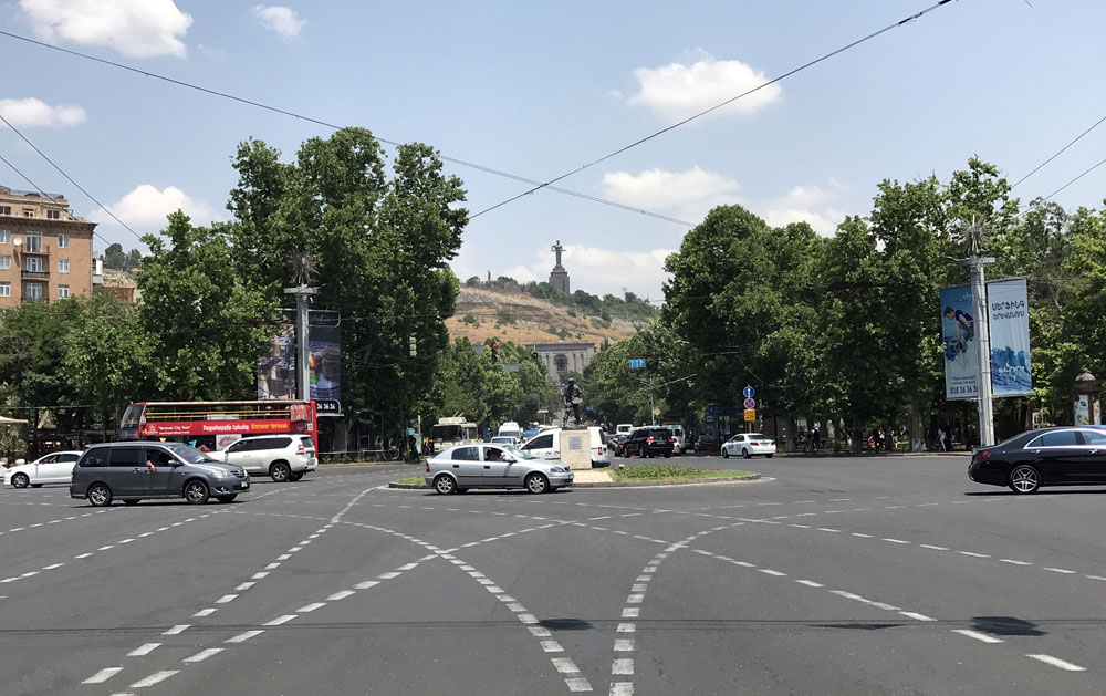 Intersection in Yerevan with Mother Armenia statue