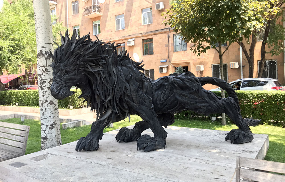 Lion art made out of tires
