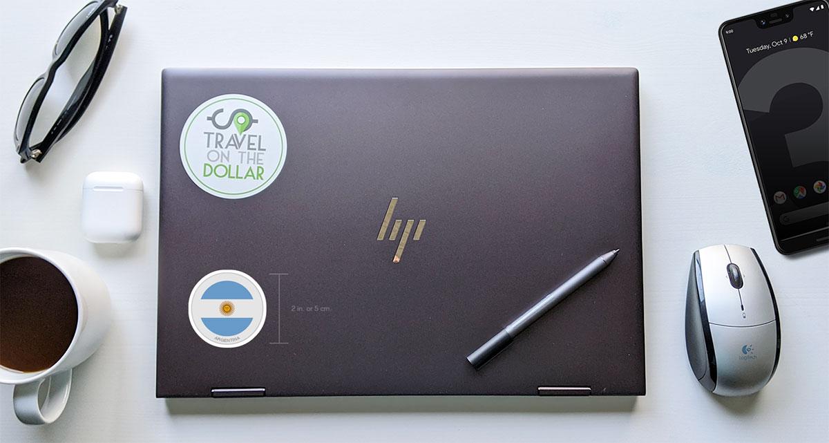 Flag Sticker - Argentina on a laptop