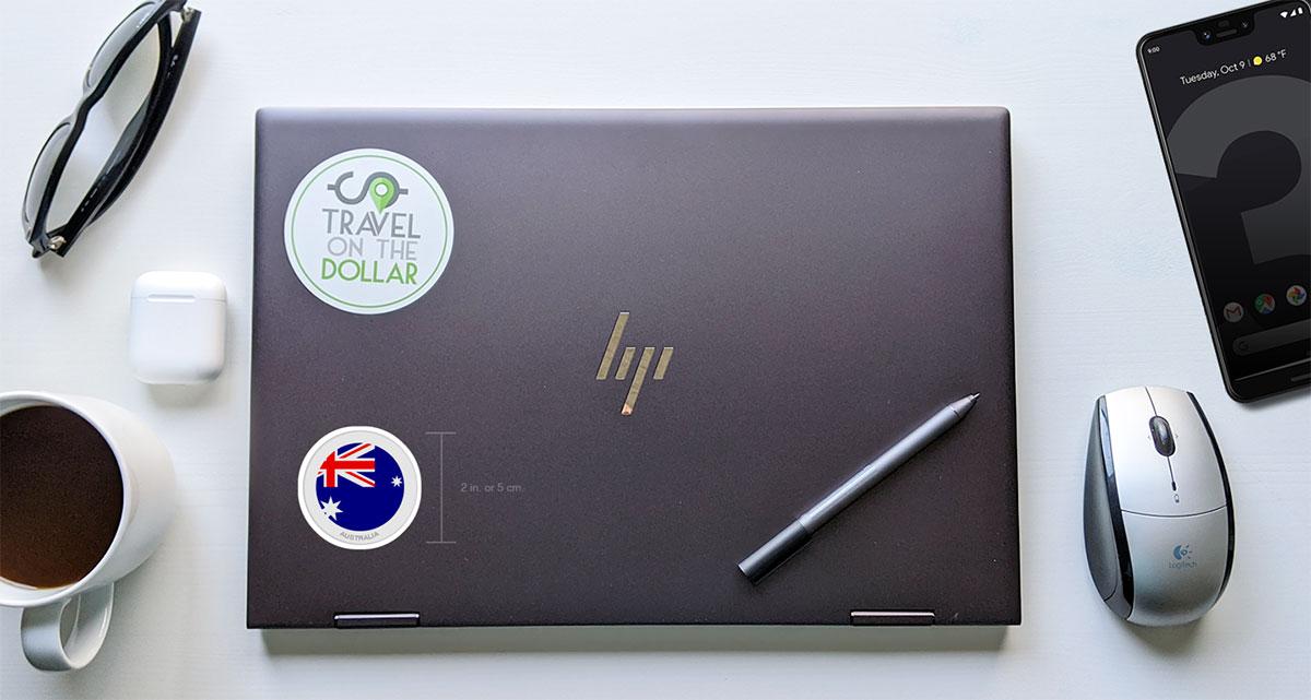 Flag Sticker - Australia on a laptop