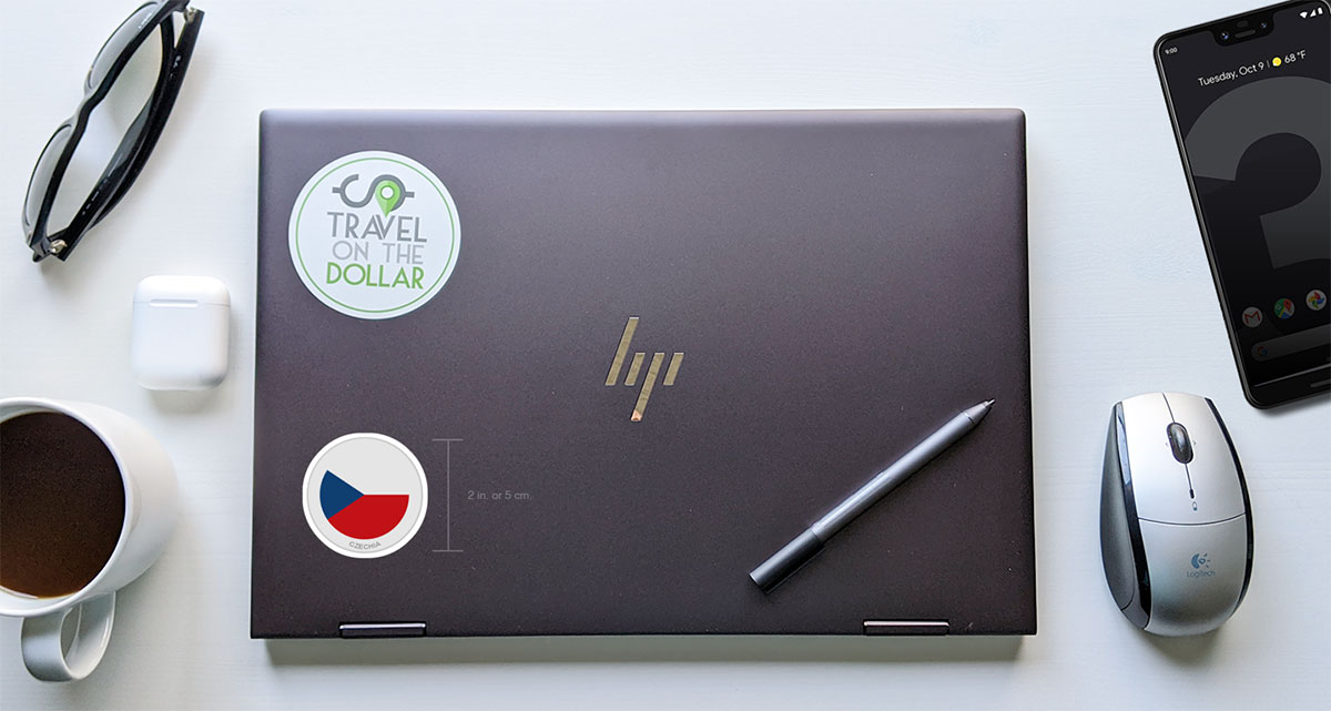 Flag Sticker - Czechia on a laptop