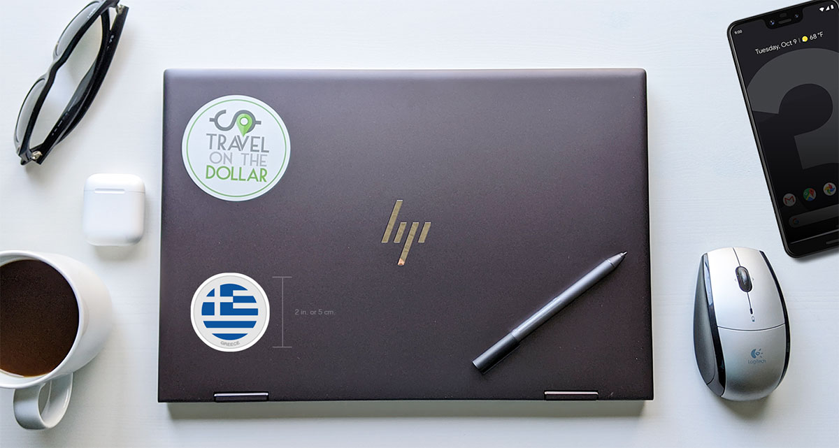 Flag Sticker - Greece on a laptop