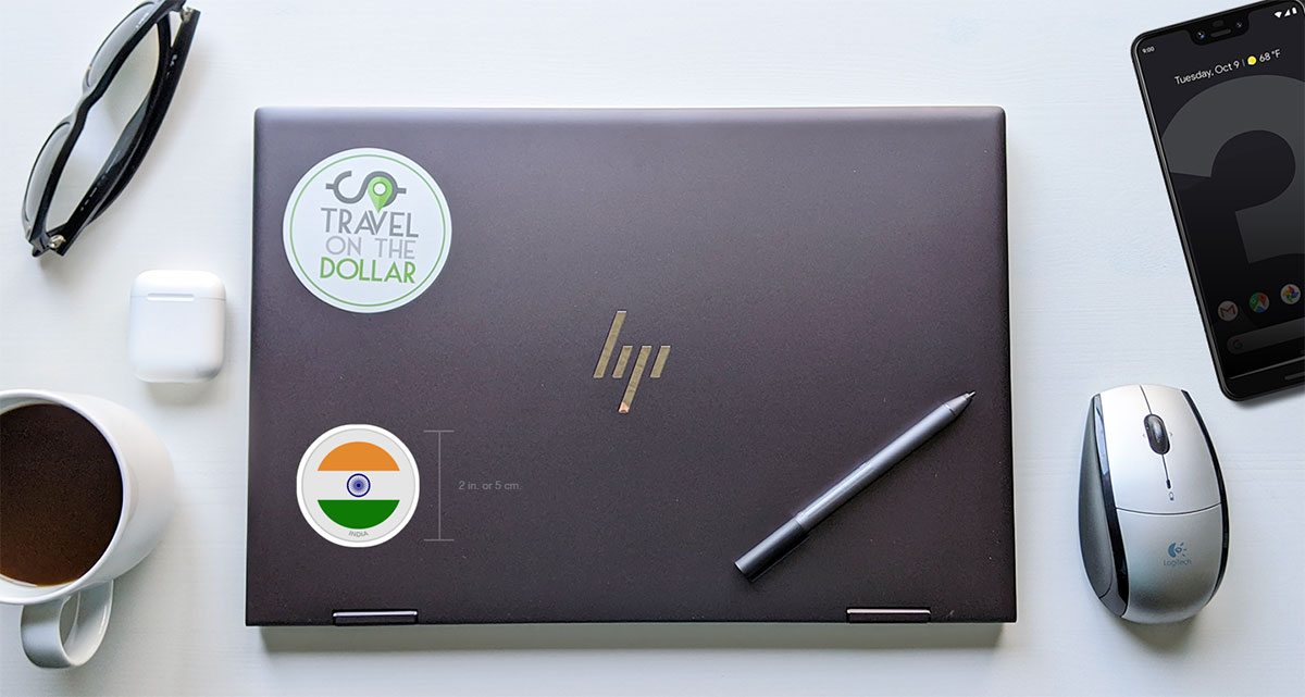 Flag Sticker - India on a laptop