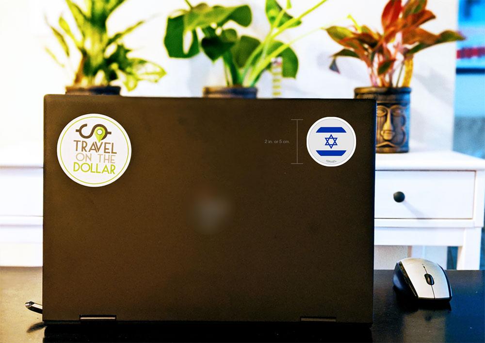 Flag Sticker - Israel on a laptop