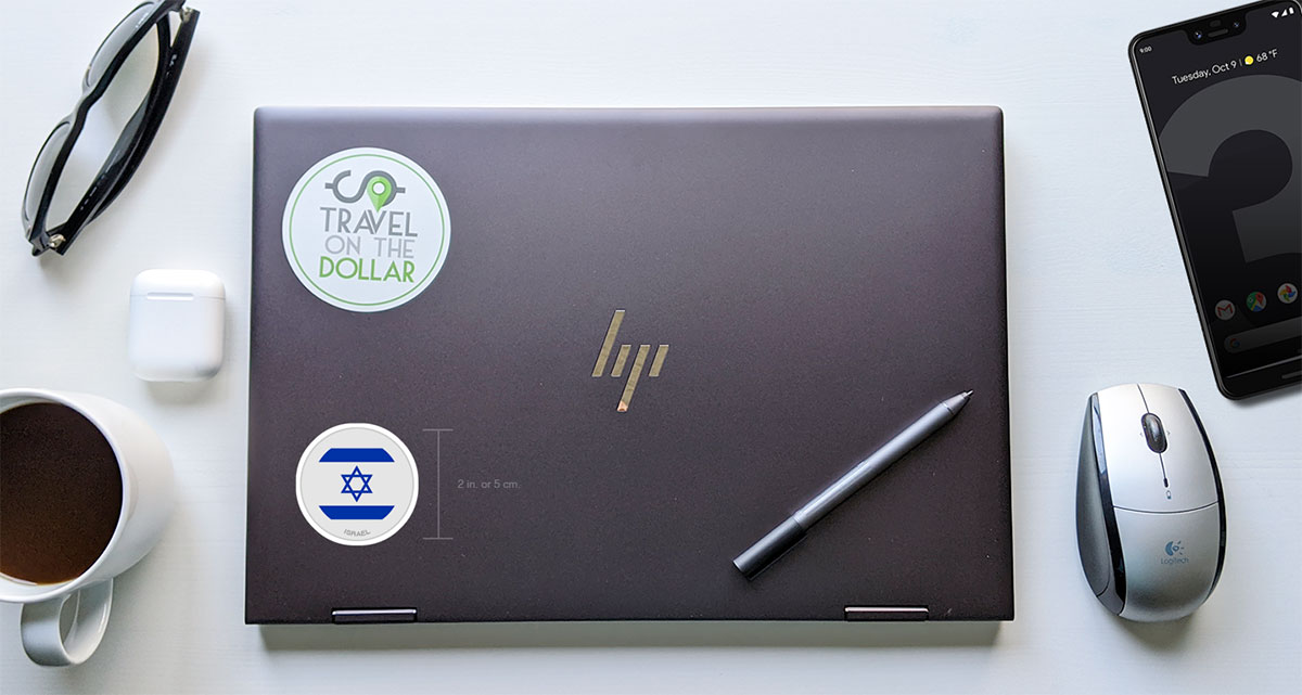 Flag Sticker - Israel on a laptop