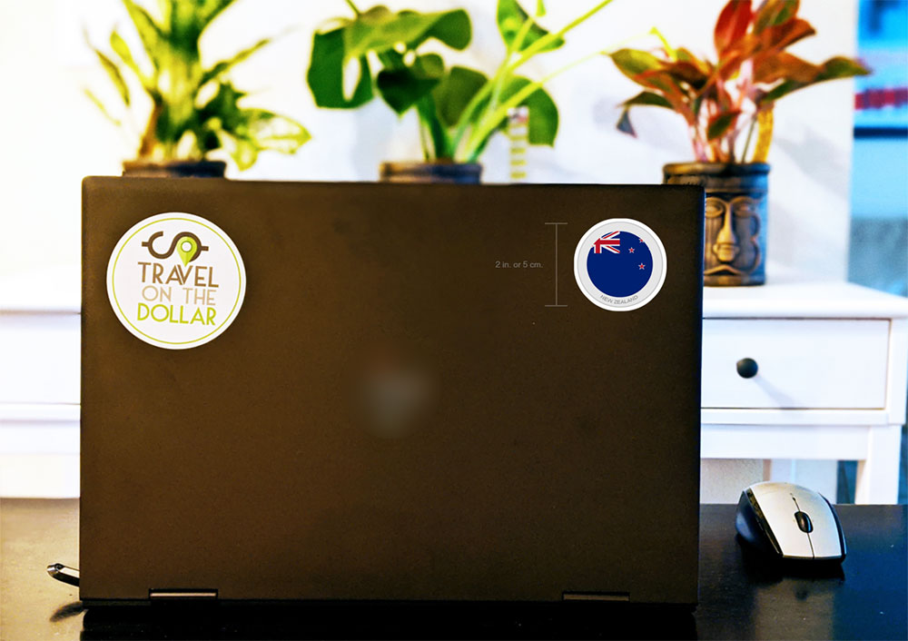 Flag Sticker - New Zealand on a laptop