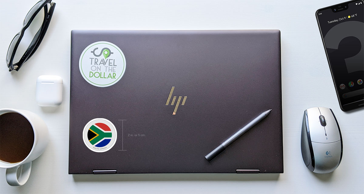 Flag Sticker - South Africa on a laptop