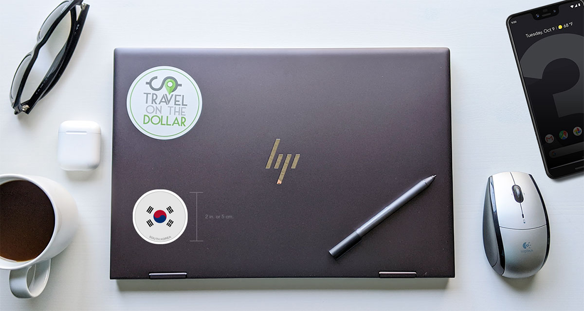 Flag Sticker - South Korea on a laptop