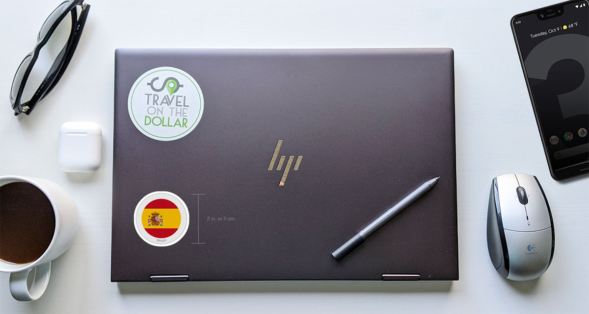 Flag Sticker - Spain on a laptop