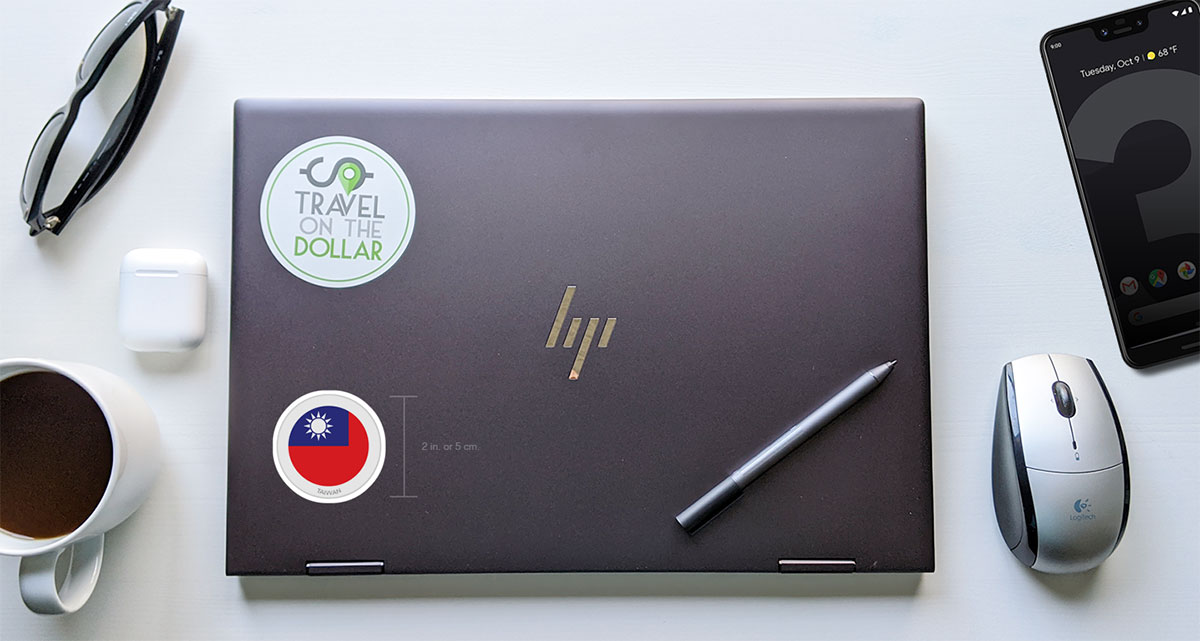 Flag Sticker - Taiwan on a laptop