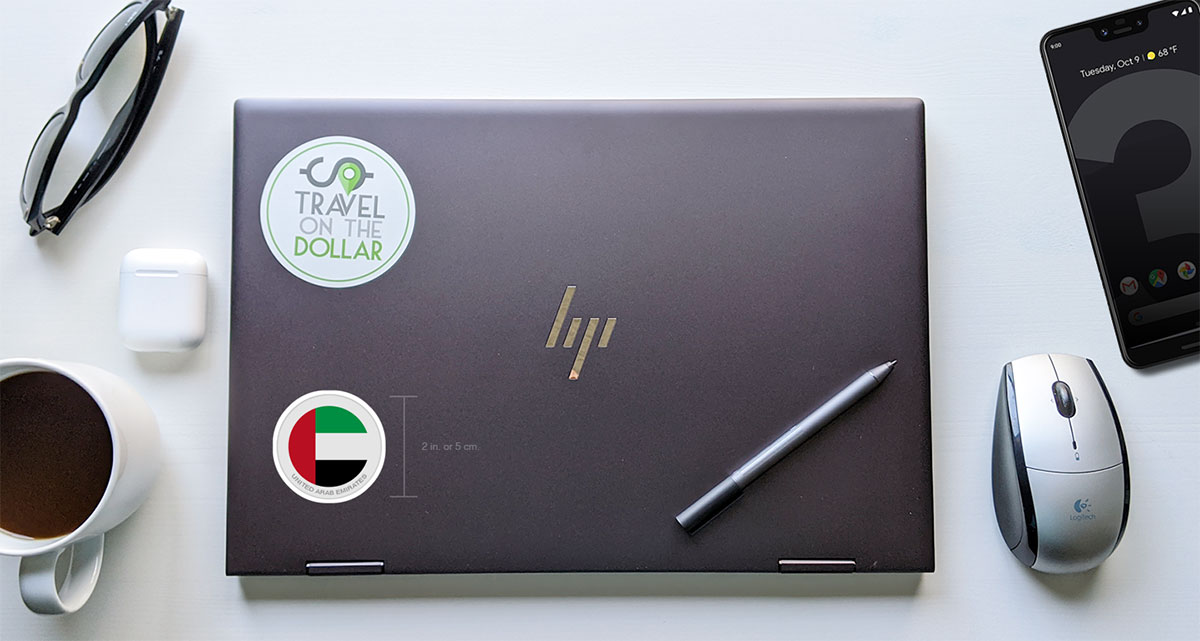 Flag Sticker - UAE on a laptop