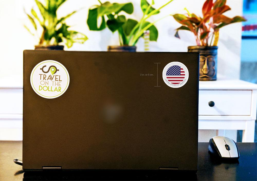 Flag Sticker - USA on a laptop
