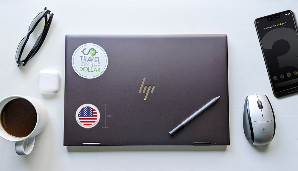 Flag Sticker - USA on a laptop