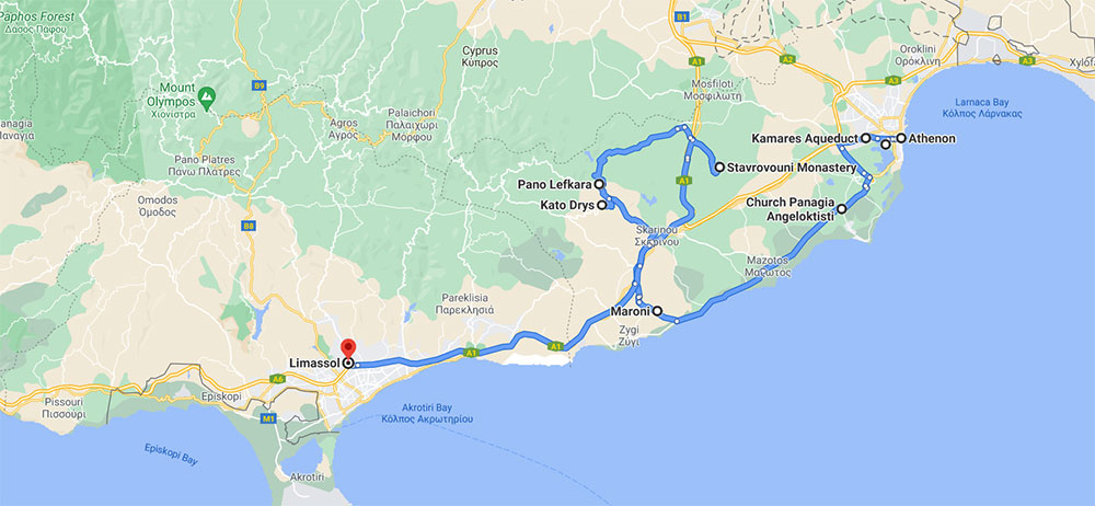 Day 2 driving route in Cyprus
