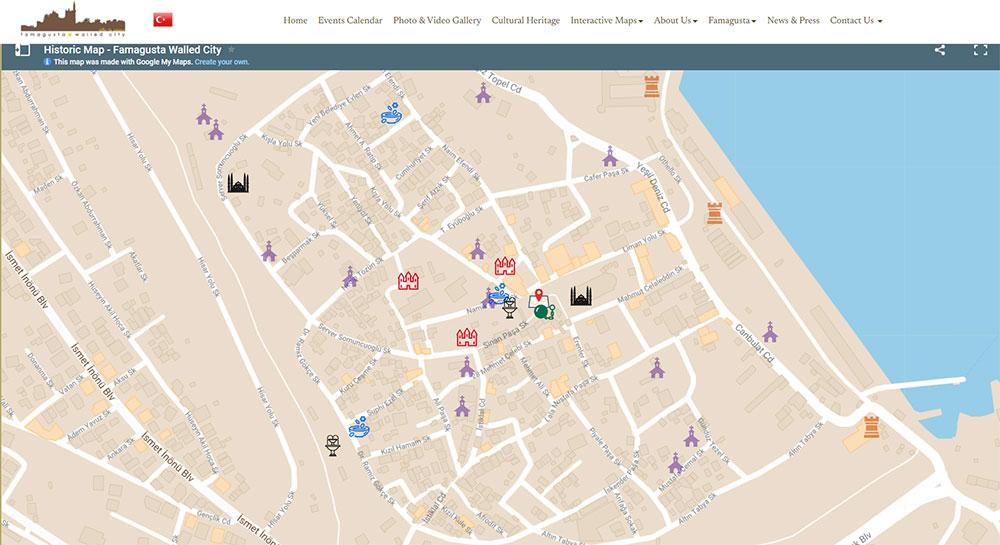Famagusta Walking tour map