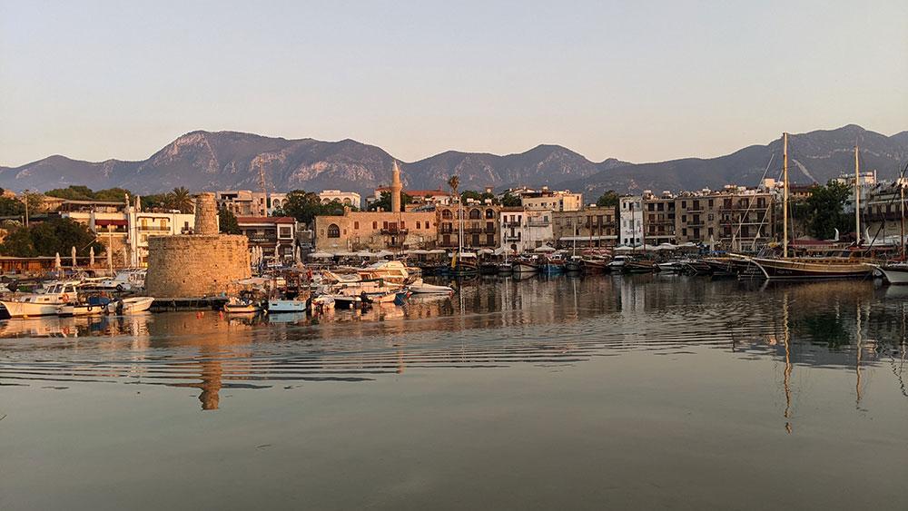 Girne Harbor at sunset
