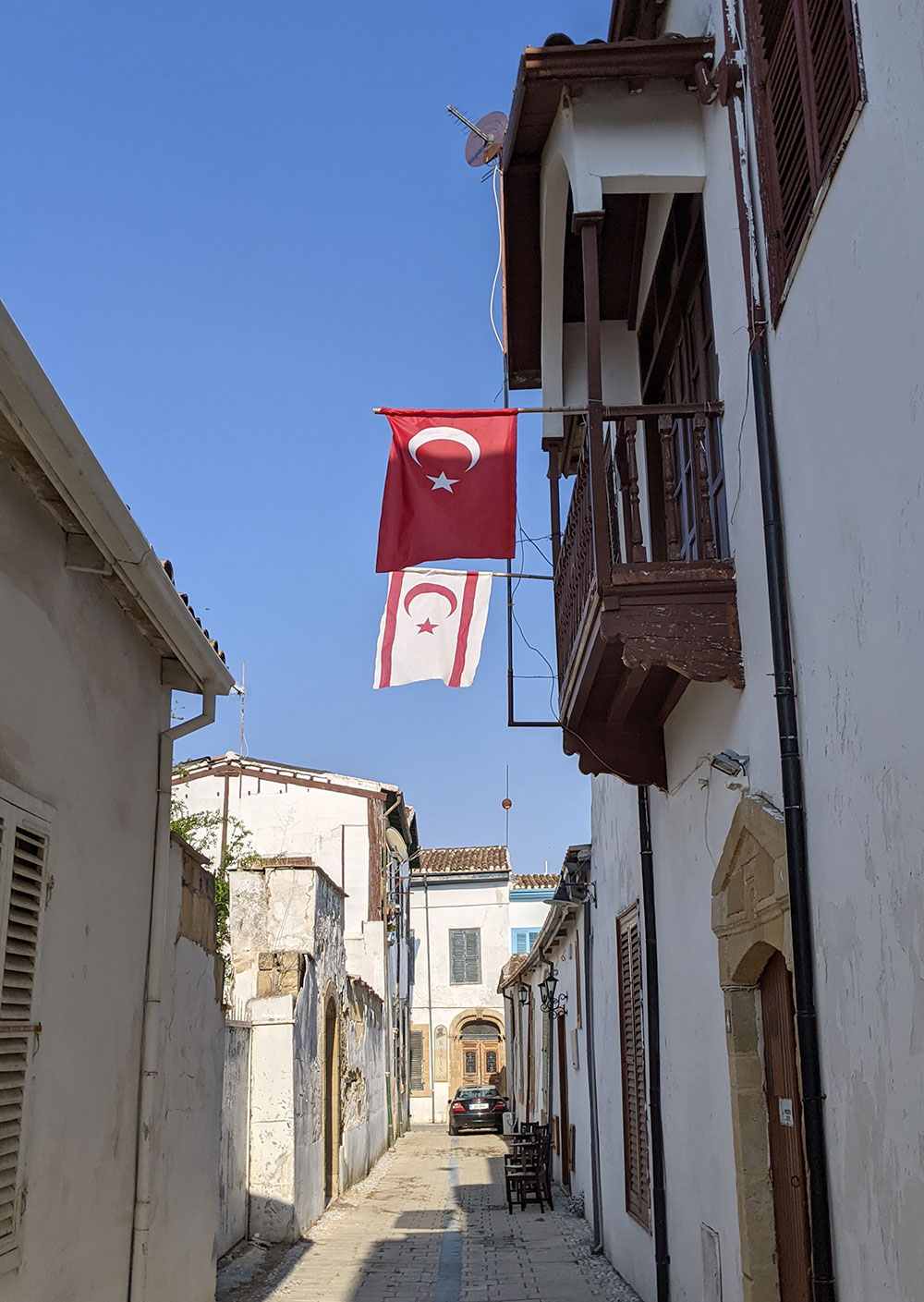 Alleyway in Lefkoşa with Turkish and Northern Cyprus flags