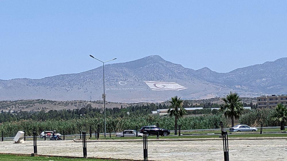 Northern Cyprus flag on mountain