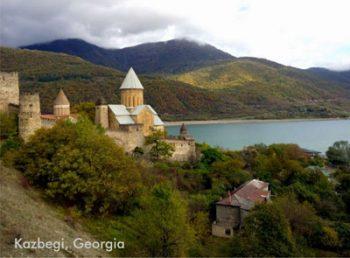 Postcard of Kazbegi, Georgia