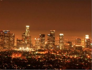 Postcard of Skyline at night, Los Angeles, USA
